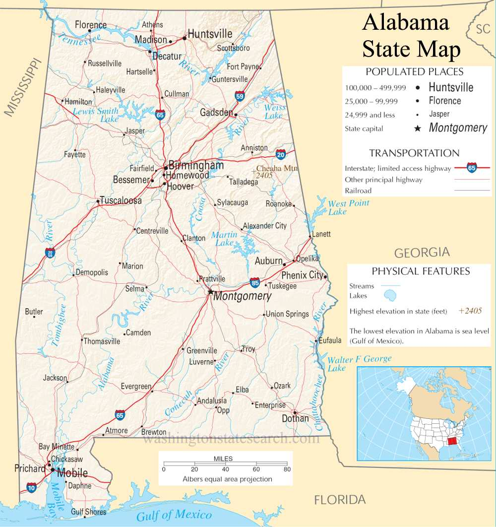 A large detailed map of Alabama State