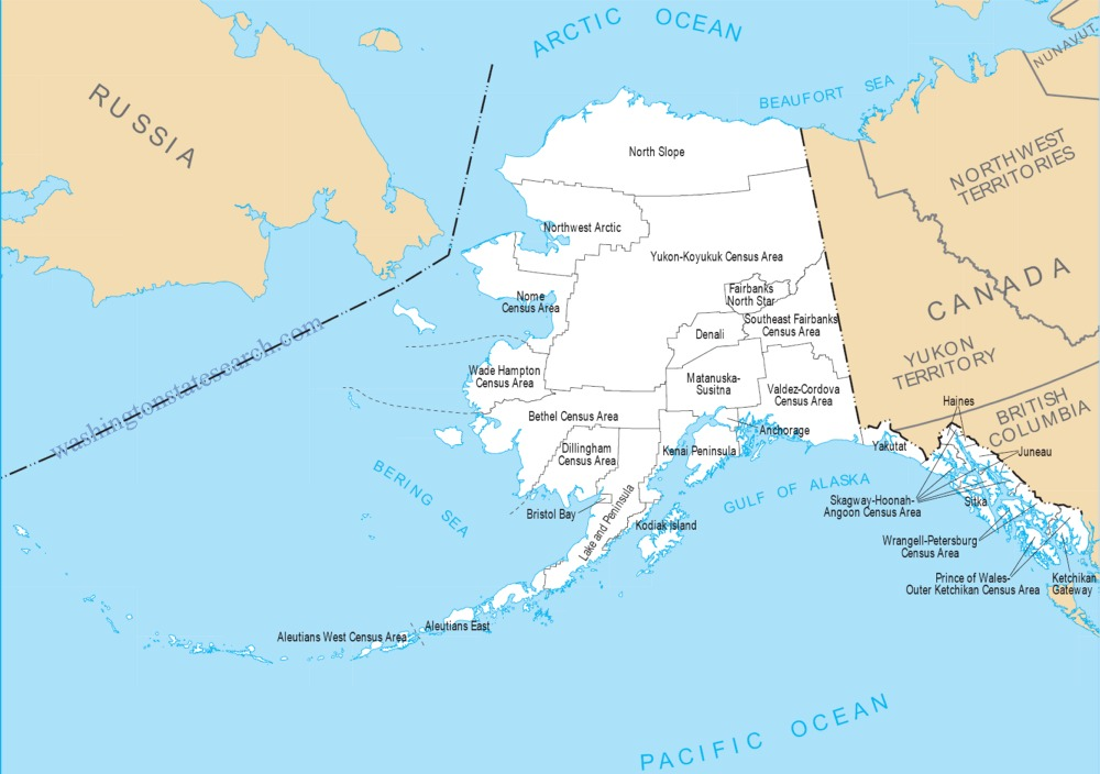 A large detailed Alaska State County Map