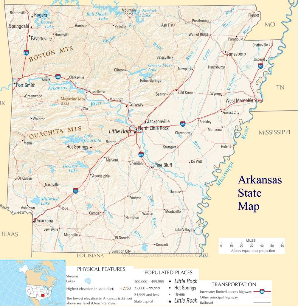 A large detailed map of Arkansas State
