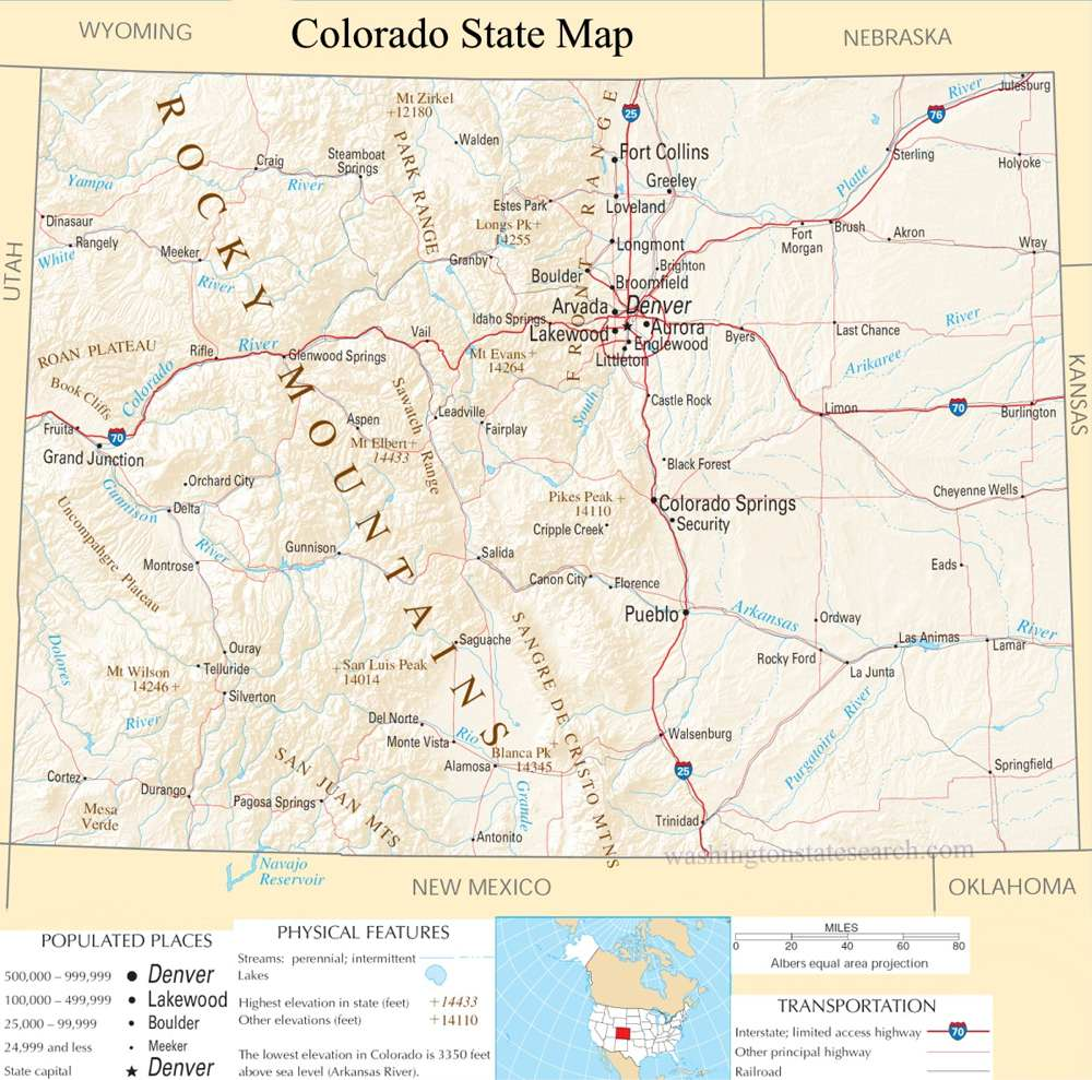 A large detailed map of Colorado State