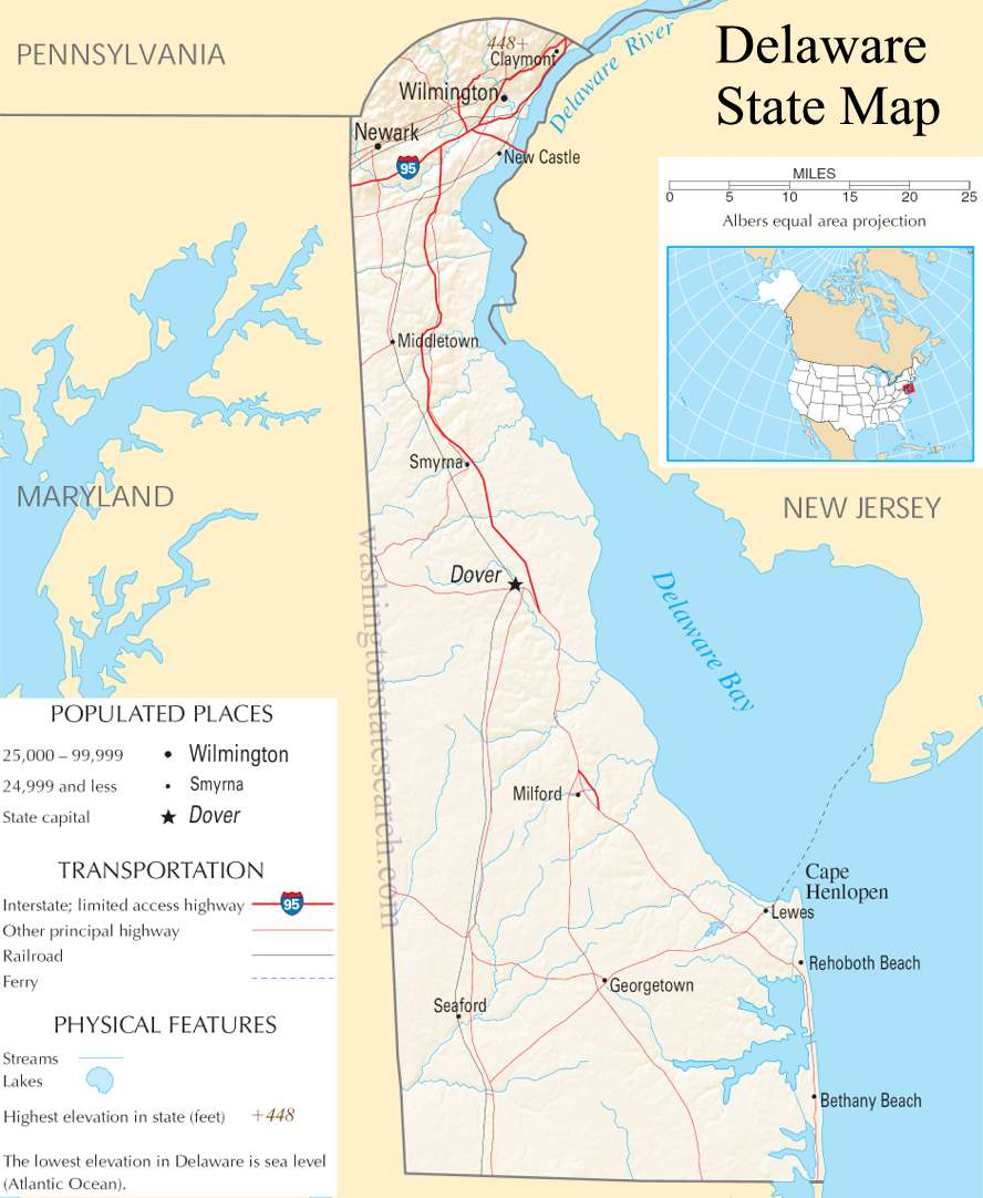 A large detailed map of Delaware State