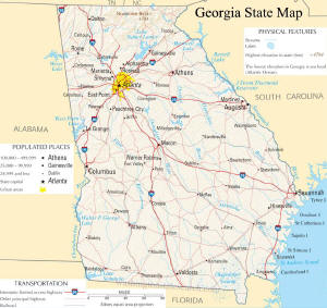 A large map of Georgia State USA