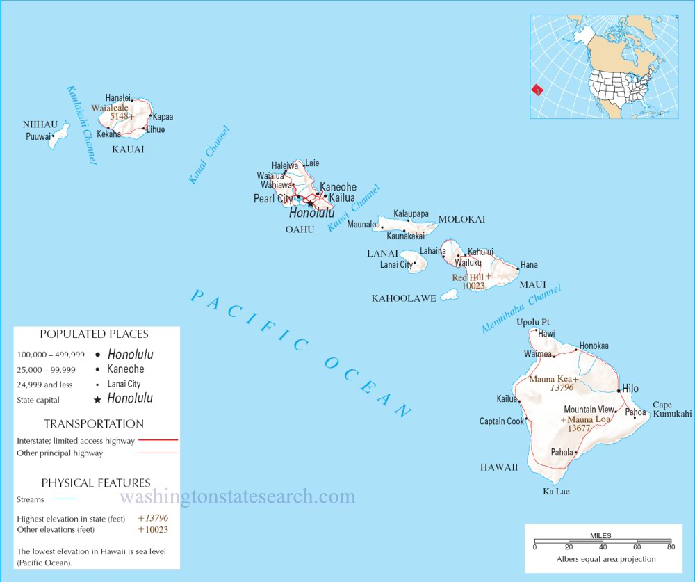 A large detailed map of Hawaii State