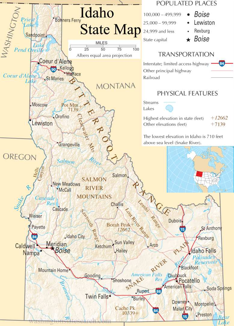 A large detailed map of Idaho State