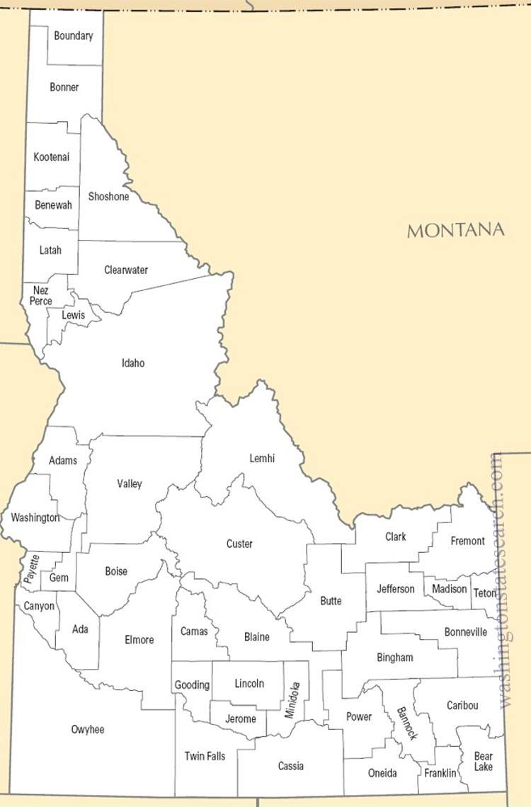 A large detailed Idaho State County Map