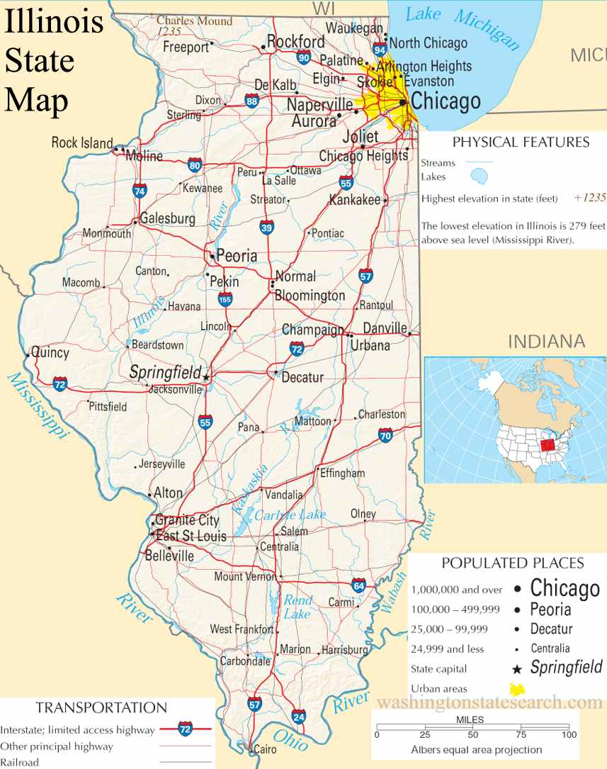 A large detailed map of Illinois State