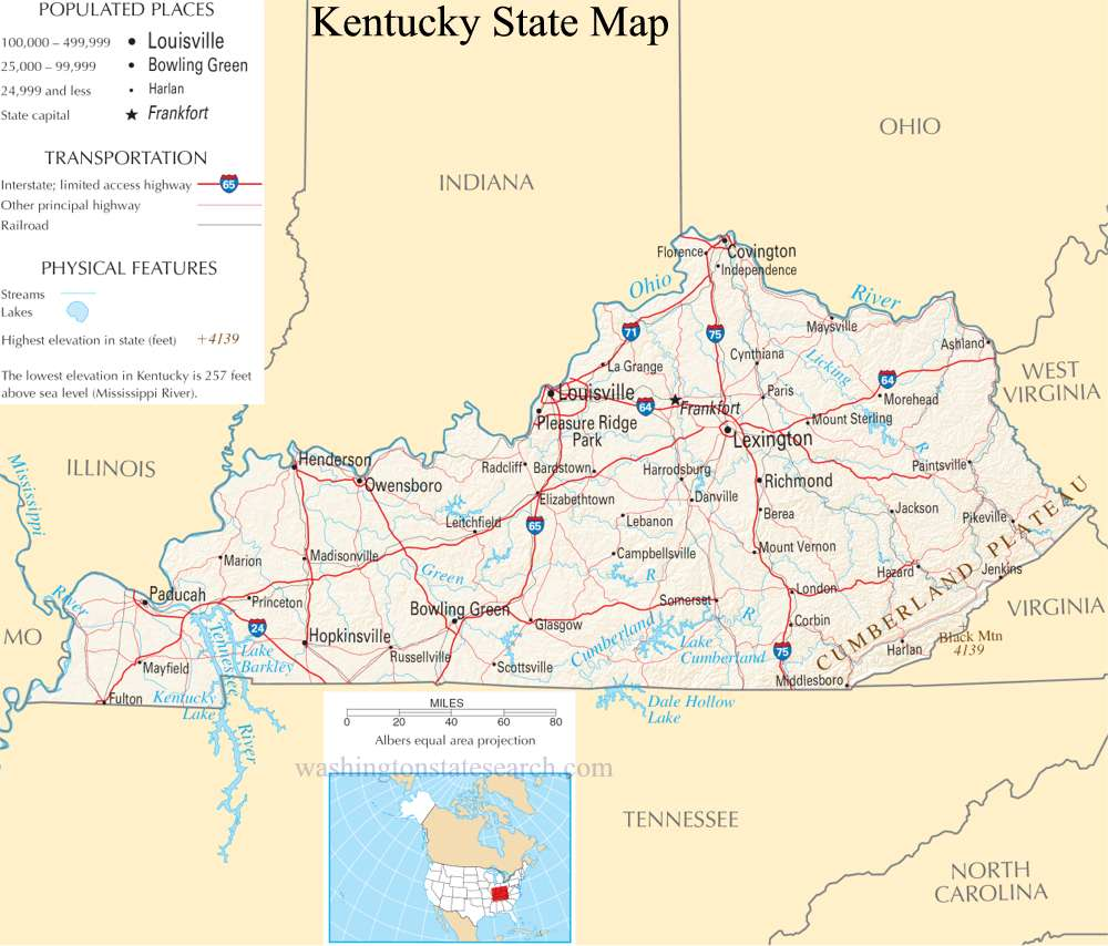 A large detailed map of Kentucky State