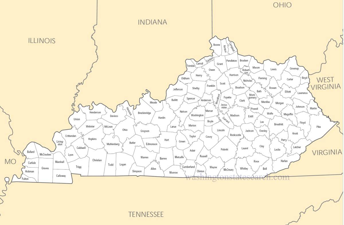 A large detailed Kentucky State County Map