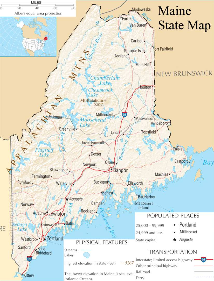A large detailed map of Maine State