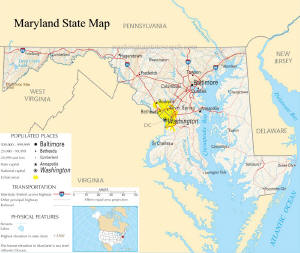 A large map of Maryland State USA
