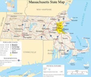 A large map of Massachusetts State USA