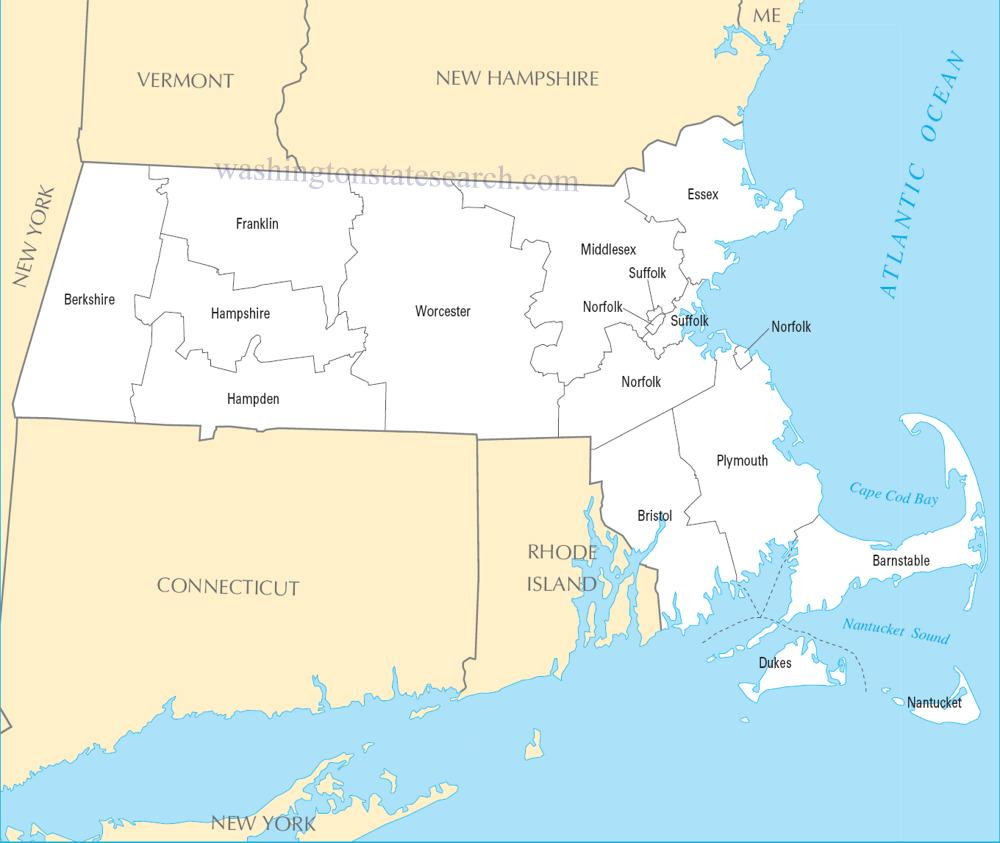 A large detailed Massachusetts State County Map