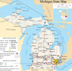 A large map of Michigan State USA