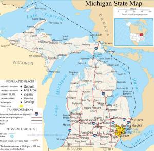 A large map of Michigan State USA