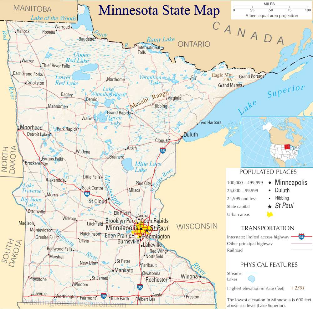 A large detailed map of Minnesota State
