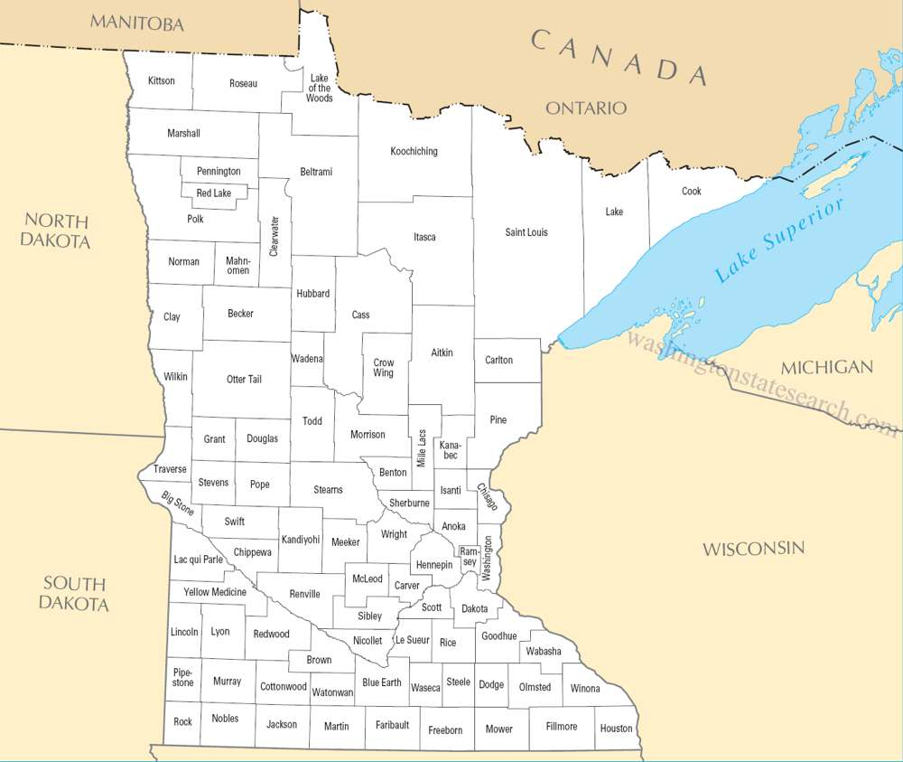 A large detailed Minnesota State County Map