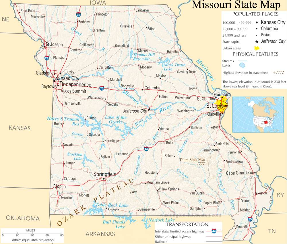A large detailed map of Missouri State