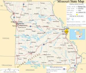A large map of Missouri State USA