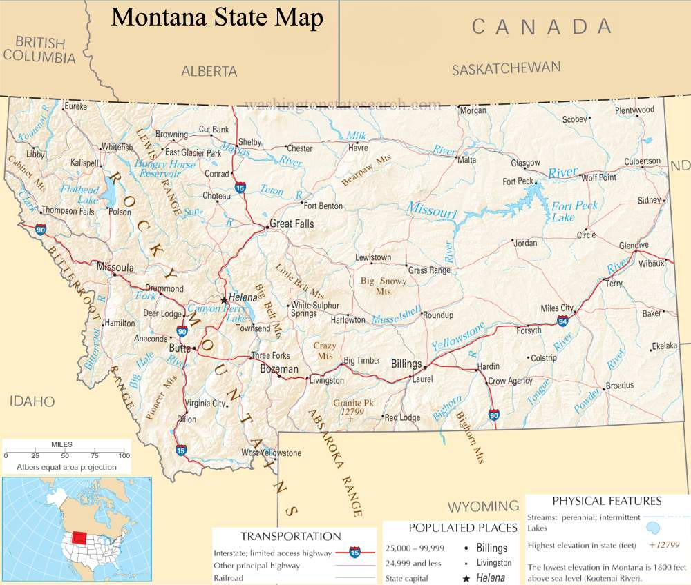 A large detailed map of Montana State