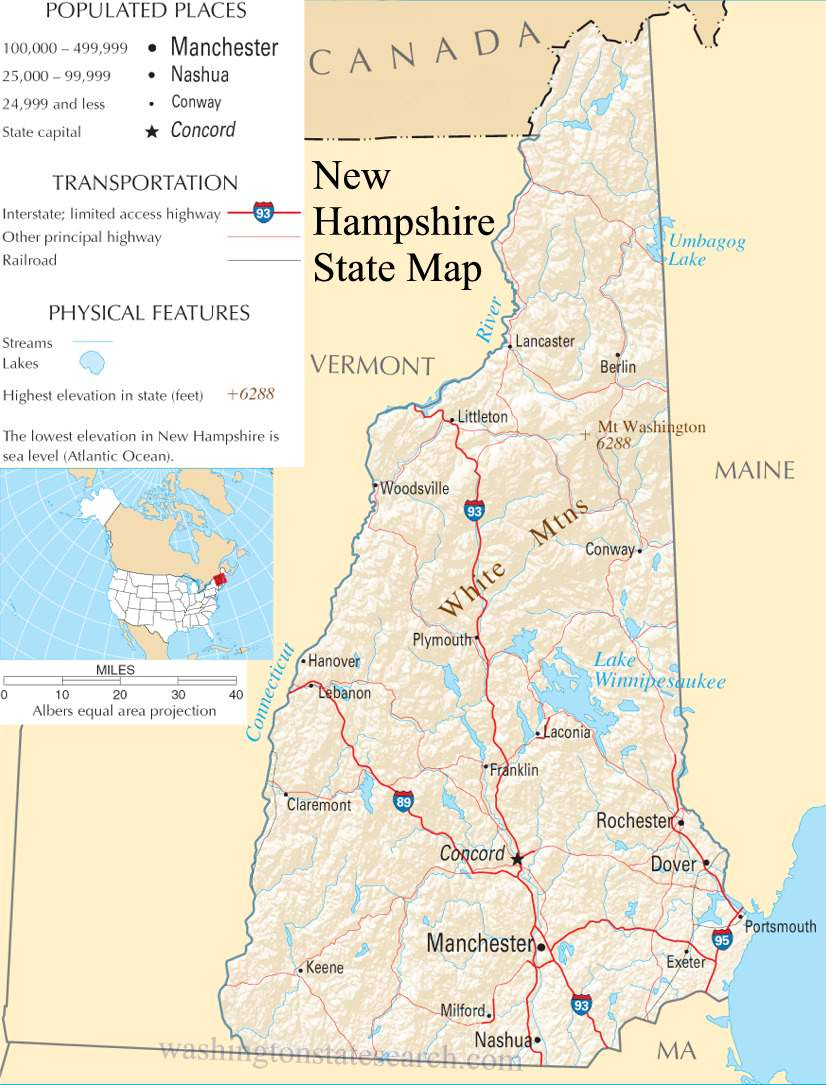A large detailed map of New Hampshire State