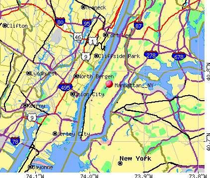 Map of Manhattan New York City
