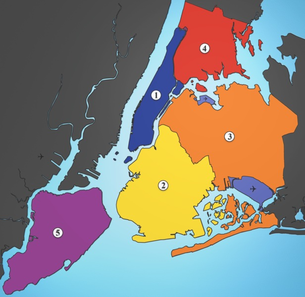 Five Boroughs of New York City - Manhattan, Brooklyn, Queens, The Bronx and Staten Island.