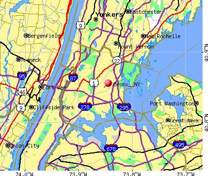 Map of The Bronx New York City