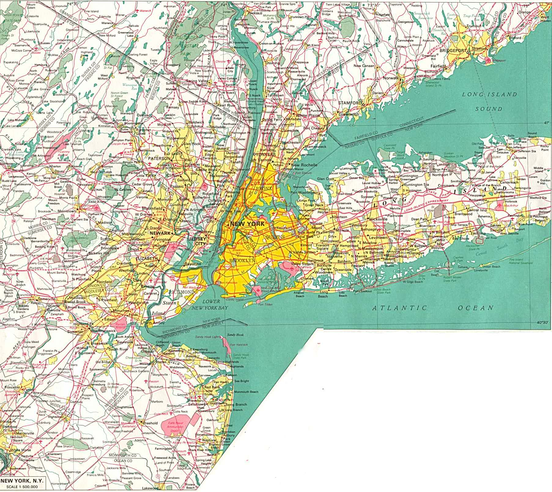 A large detailed street map of New York City NYC