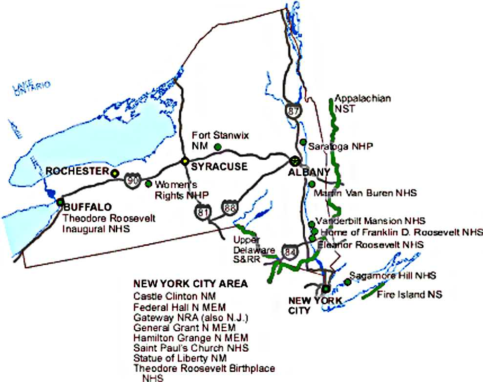 New York State National Parks Map