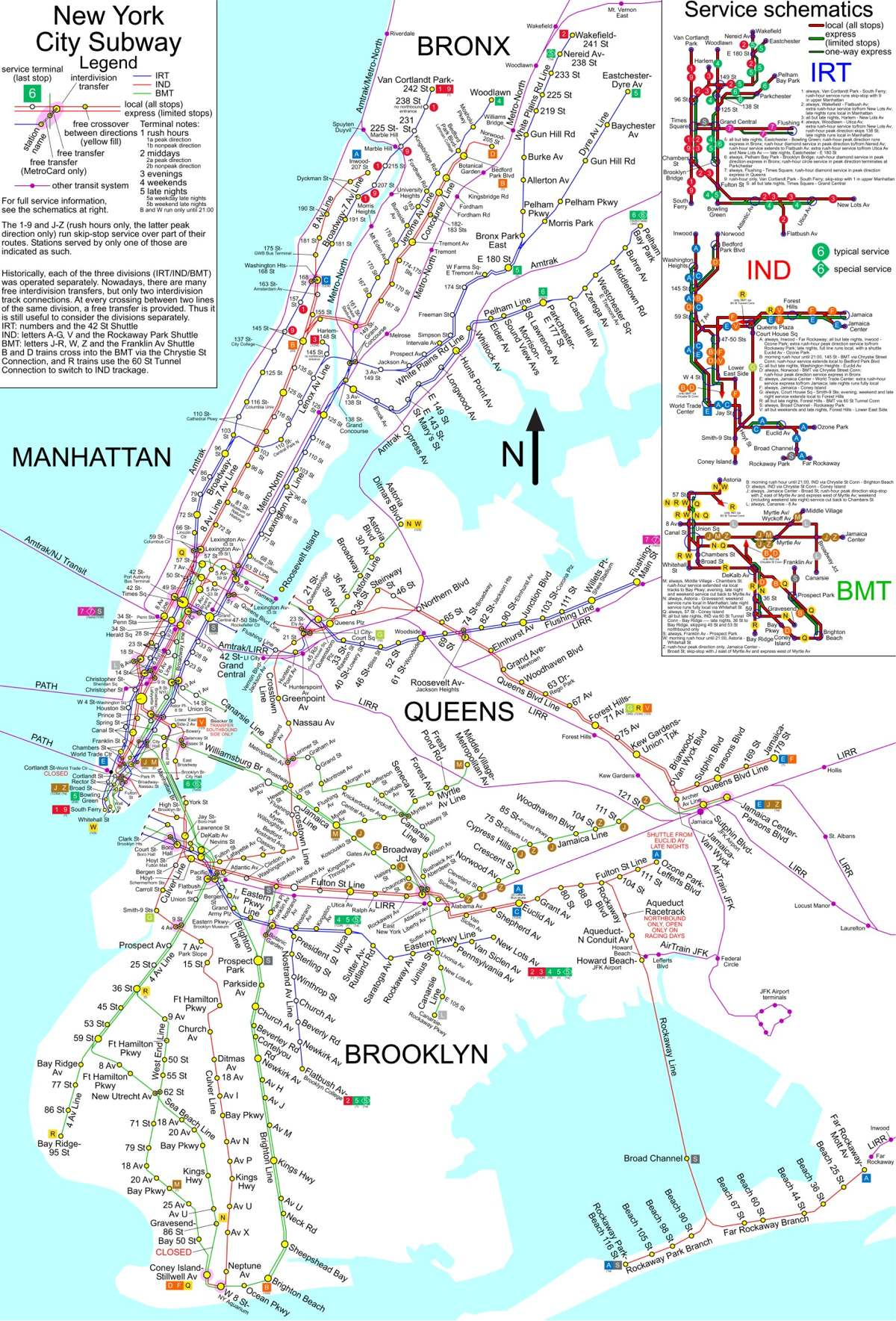 A large detailed New York City subway map