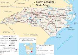 A large map of North Carolina State USA