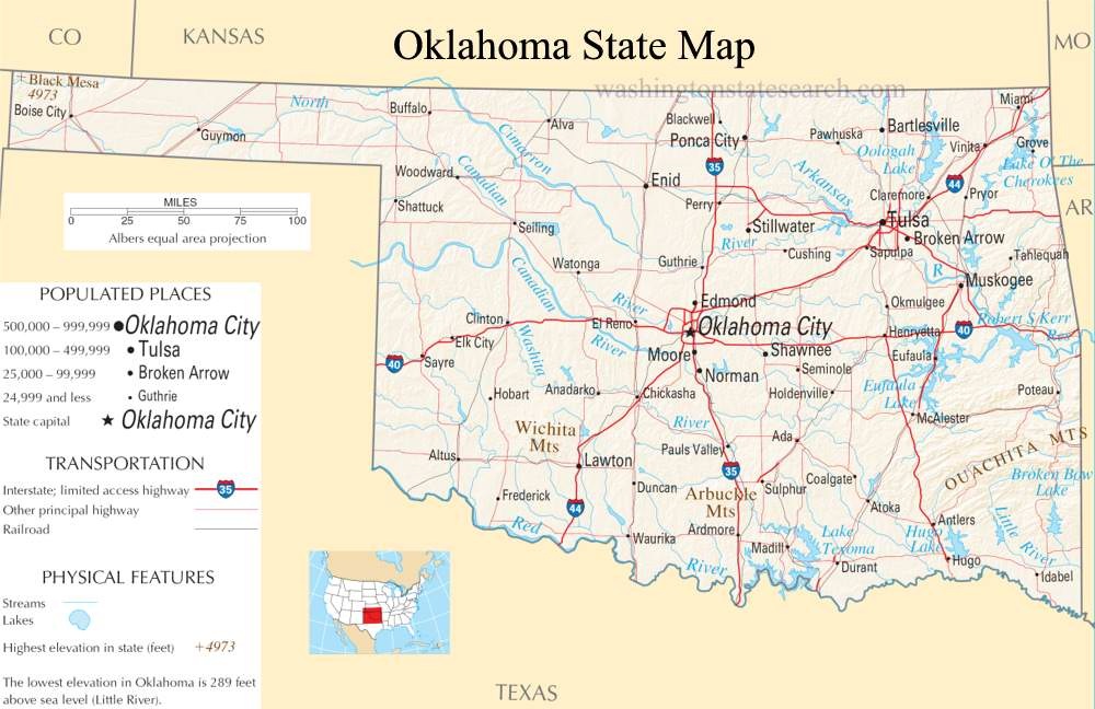 A large detailed map of Oklahoma State