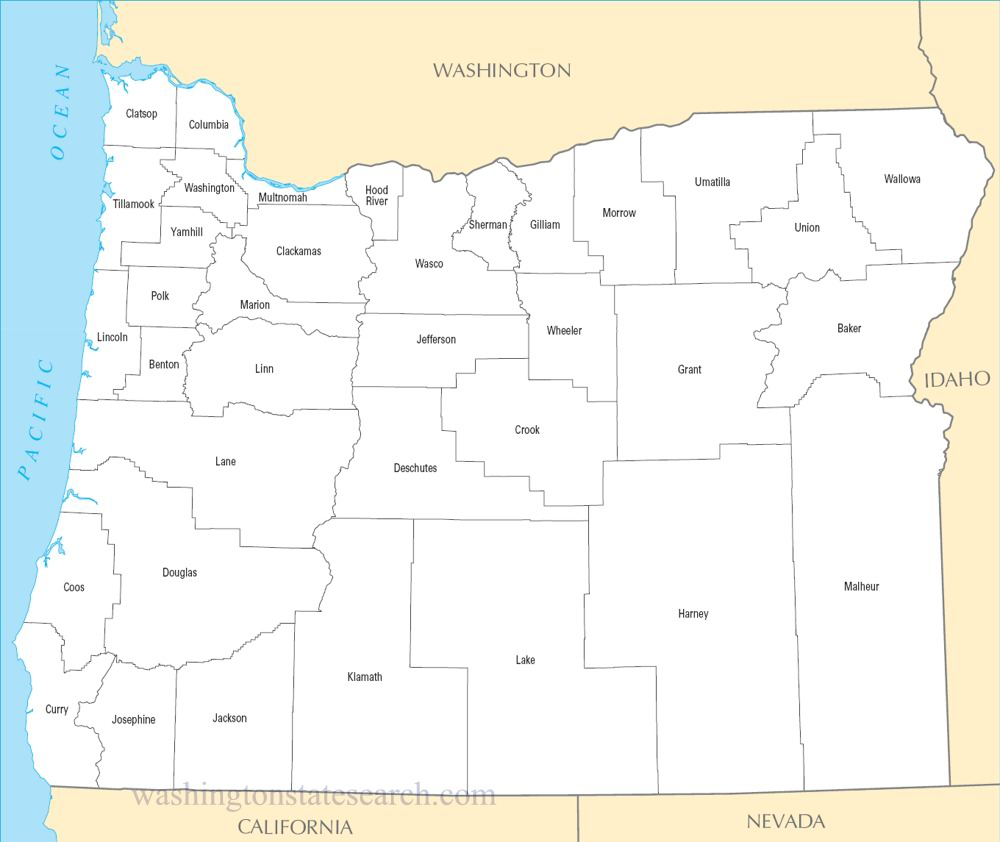 A large detailed Oregon State County Map