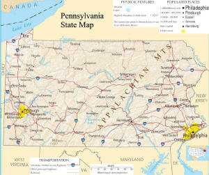 A large map of Pennsylvania State USA