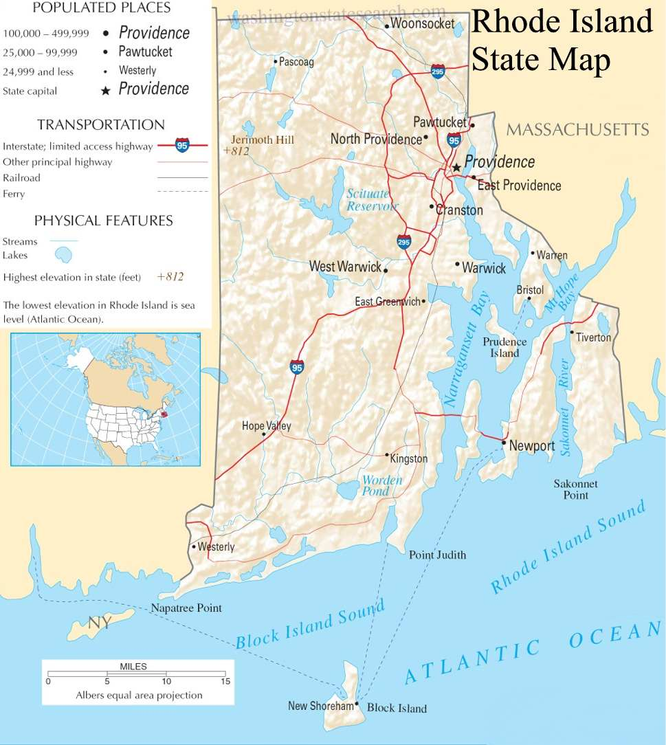 A large detailed map of Rhode Island State