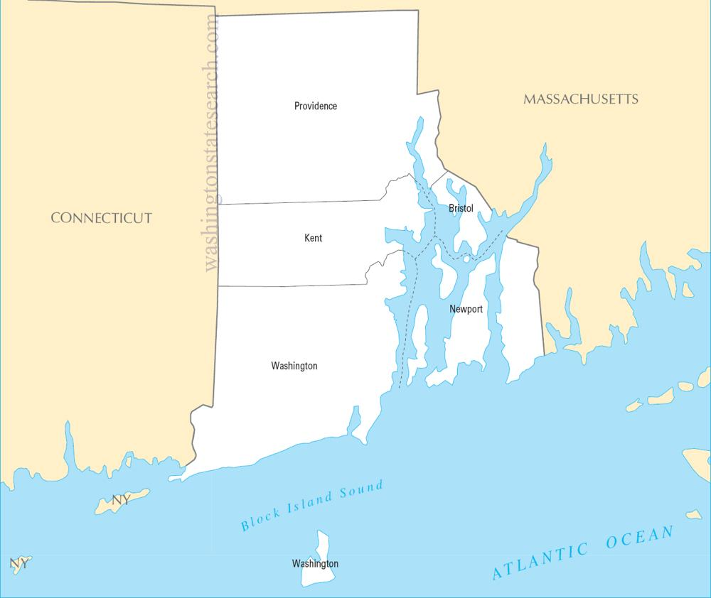 A large detailed Rhode Island State County Map
