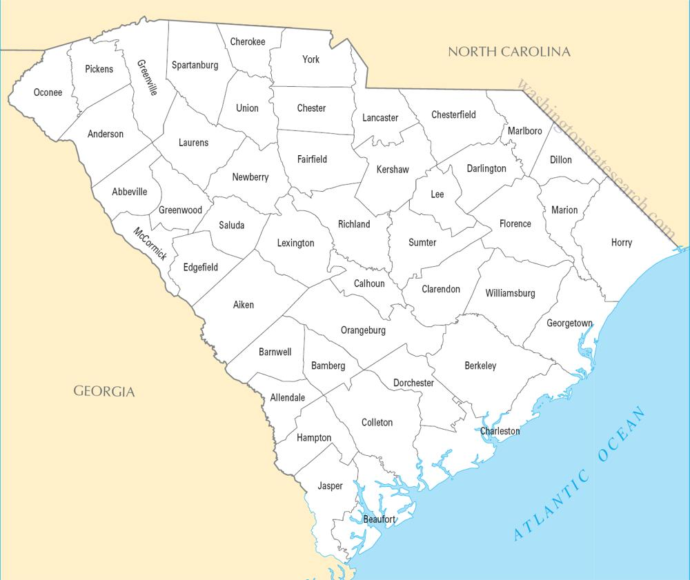 A large detailed South Carolina State County Map