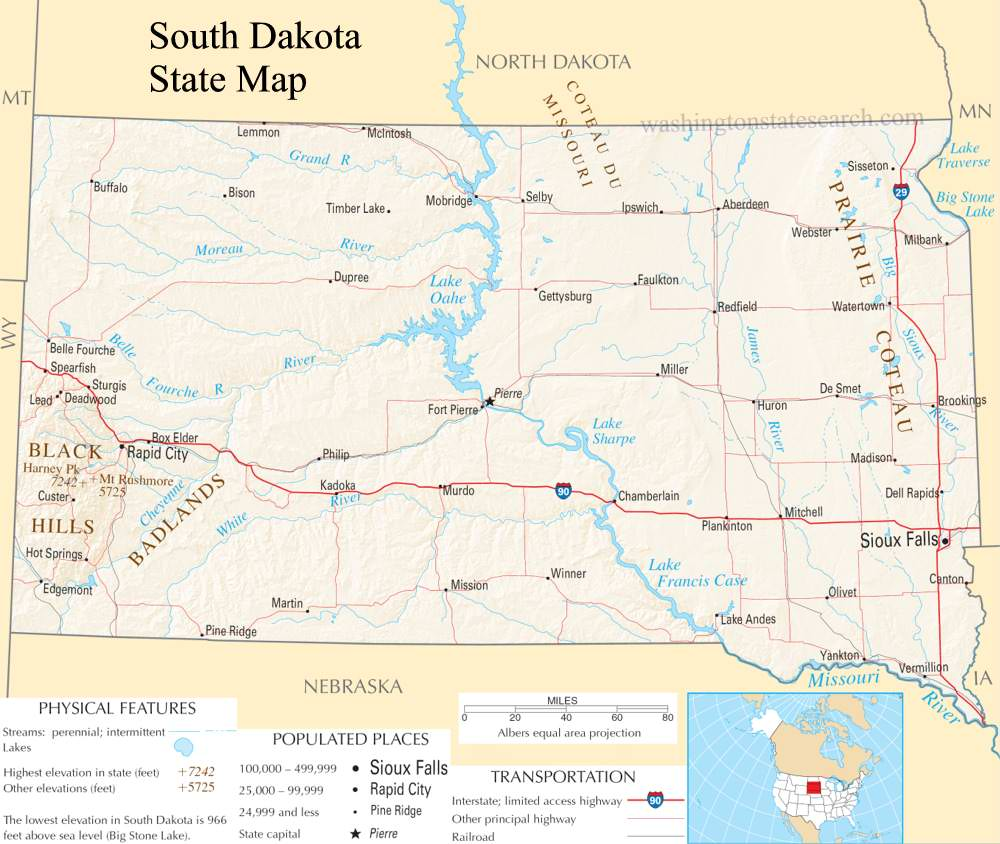 A large detailed map of South Dakota State
