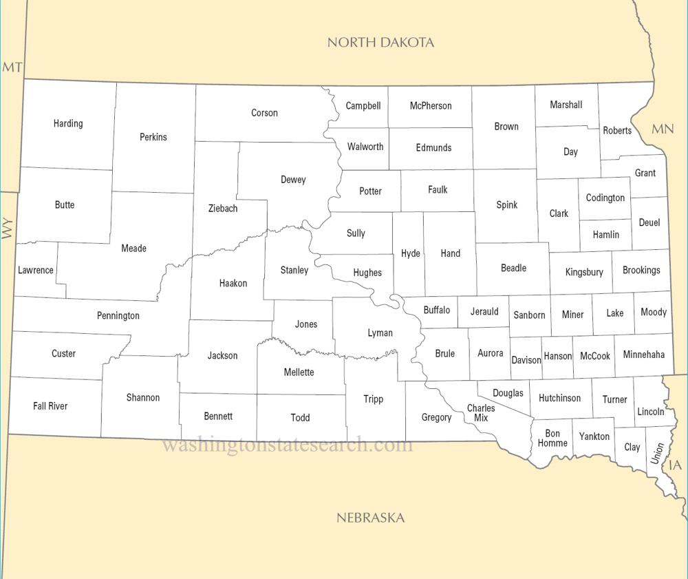 A large detailed South Dakota State County Map