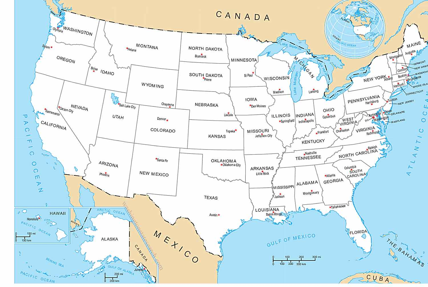 A map of The United States of America with all States & Capital Cities