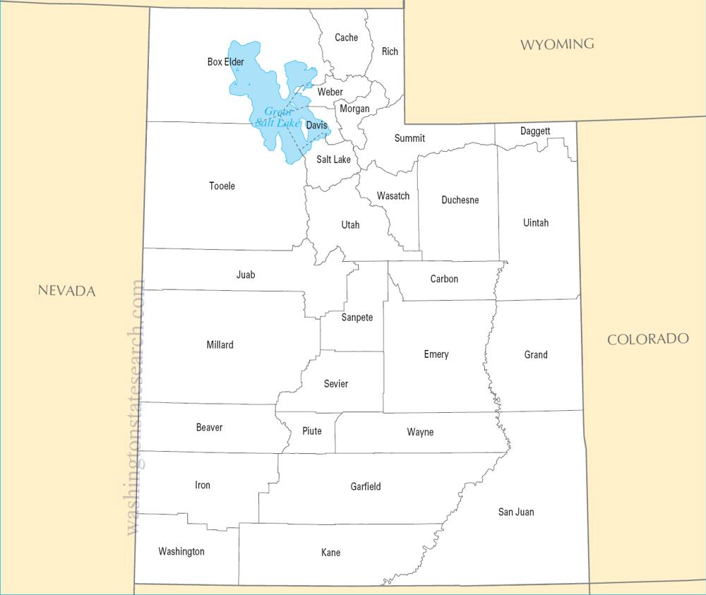 A large detailed Utah State County Map