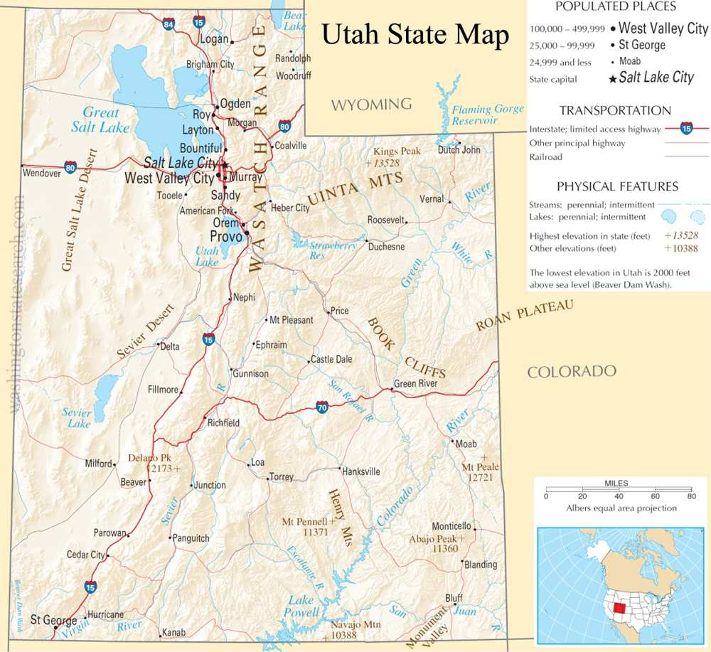 A large detailed map of Utah State