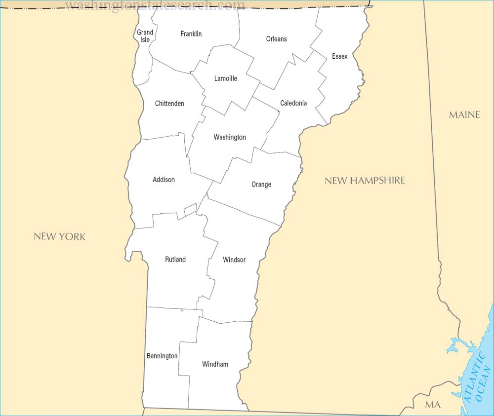 A large detailed Vermont State County Map