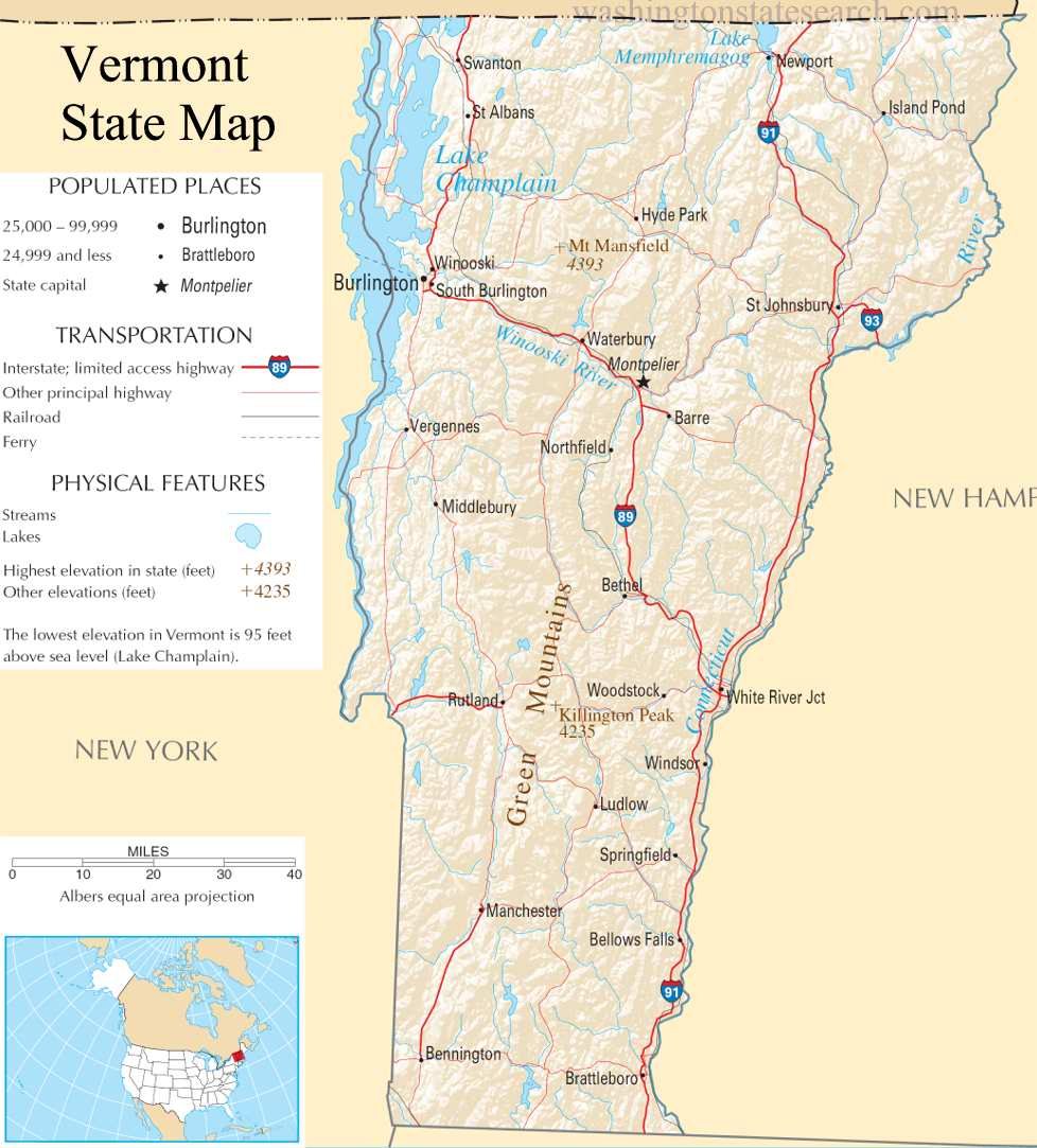 A large detailed map of Vermont State