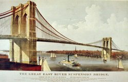 The Brooklyn Bridge - Currier & Ives print of 1877
