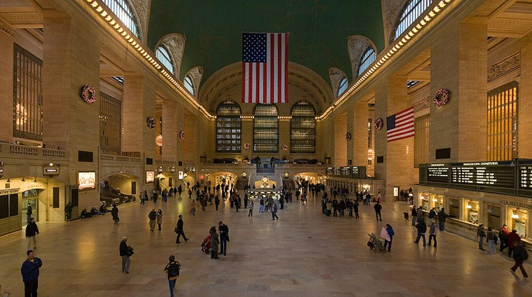 View inside the Main Concourse of Grand Central Terminal New York City facing east.