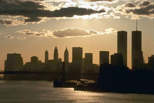 New York City Skyline Silhouetted
