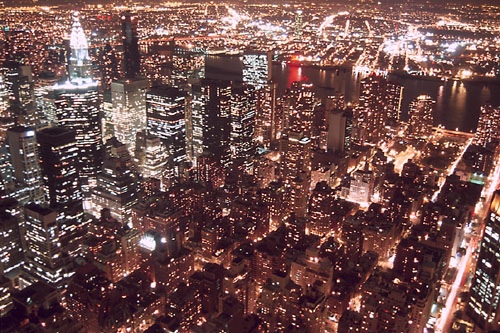 A photograph of New York City at night