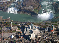 Aerial view of Niagara Falls, American Falls and Horseshoe Falls