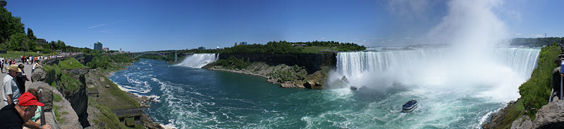 Panoramic view of American and Horseshoe Falls from Canada.